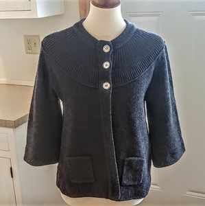 SUNDANCE Charcoal Lambswool 3 Button Cardigan